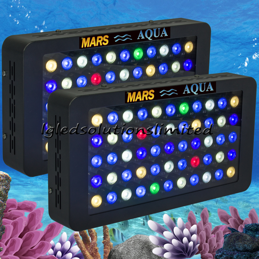 2pcs Mars Aqua 165W Dimmable Led Aquarium Lights for Coral Reef Full Spectrum Aquarium Led Lighting