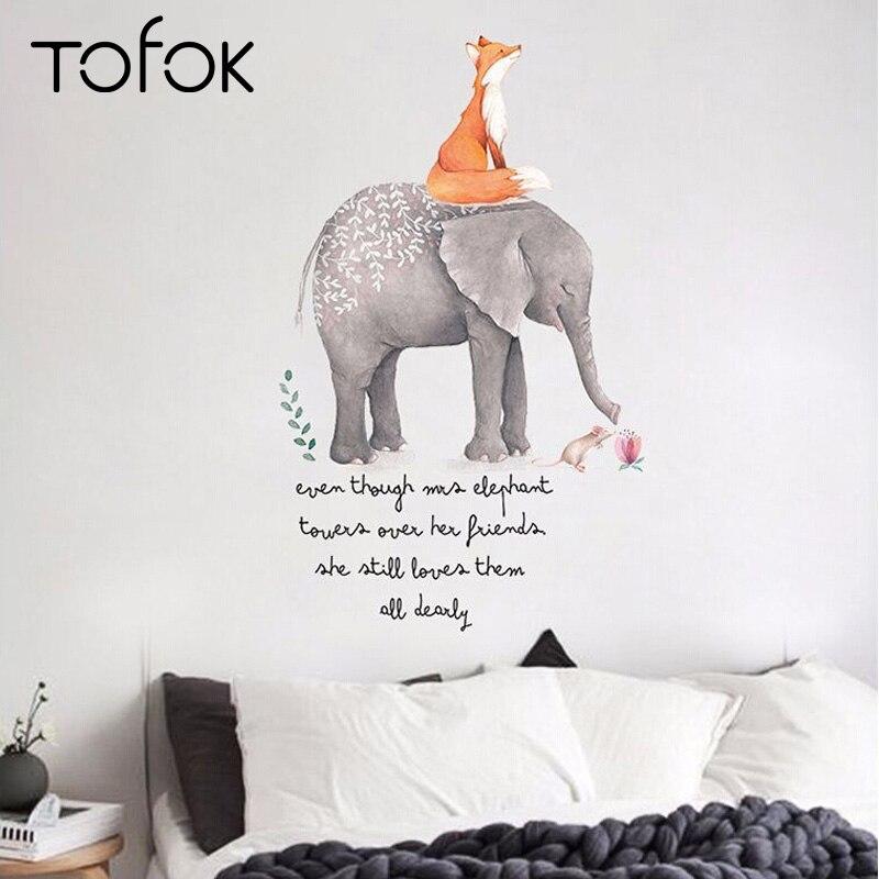 Tofok Cute Cartoon Fox Elephant Wall Stickers Children Room Nursery Wall Decoration Setting Wall Murals PVC Removable Home Decor african elephant