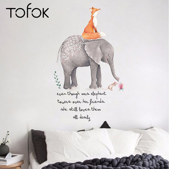 Tofok Cute Cartoon Fox Elephant Wall Stickers Children Room Nursery Decoration Setting Murals Pvc