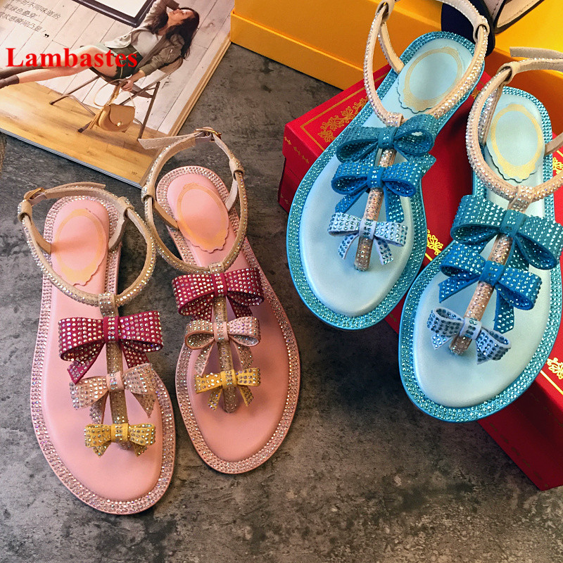 2018 Hot Summer Women Sandals Blue Sweet Butterfly-knot Crystal Women Gladiator Sandals T-strap Open Toe Flip Flop Flats Shoes us 8size full real leather sweet women 2017 summer ankle strap flat heel sandals ladies hot fashion red blue apricot flats shoes