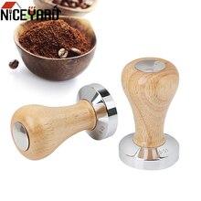51MM 49MM Wood Handle Coffee Powder Hammer Stainless Steel Tamper Barista Tools Flat Espresso Accessories