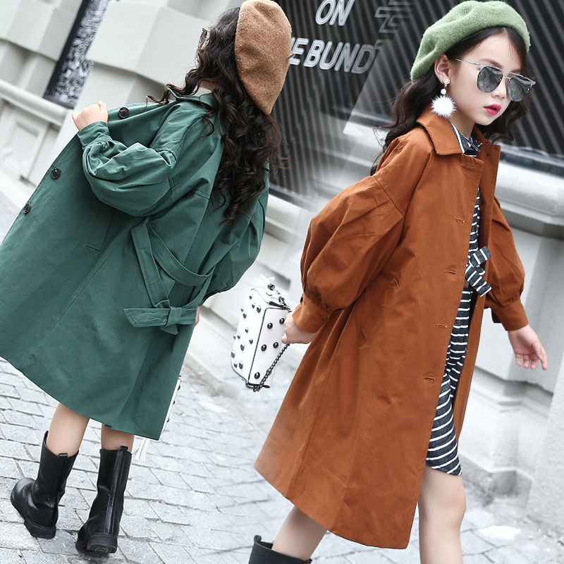 Autumn Children Girls Jacket Trench Coat with Belt Girls Lantern Sleeves Long Trench Outerwear for Girl 7 9 11 13 denim self tie waist long sleeves hooded trench coat