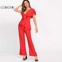 COLROVIE V-neck Ruffle Sleeveless Tailored Jumpsuit/ Catsuit
