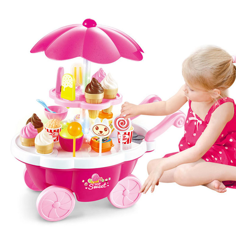 39Pcs Simulation Candy Music Ice Cream Children Pretend Play Toys Mini Push Car Toy Early Education Toys Gifts Random Color(China)