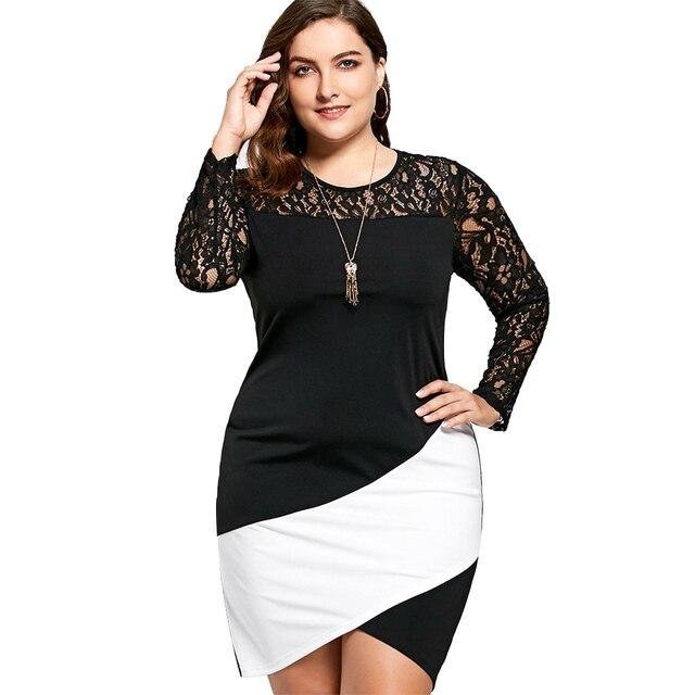 bae225f6907 Kenancy Women Pencil Dresses Office Lady Bodycon Dress Plus Size Sexy Lace  Panel Asymmetric Long Sleeve
