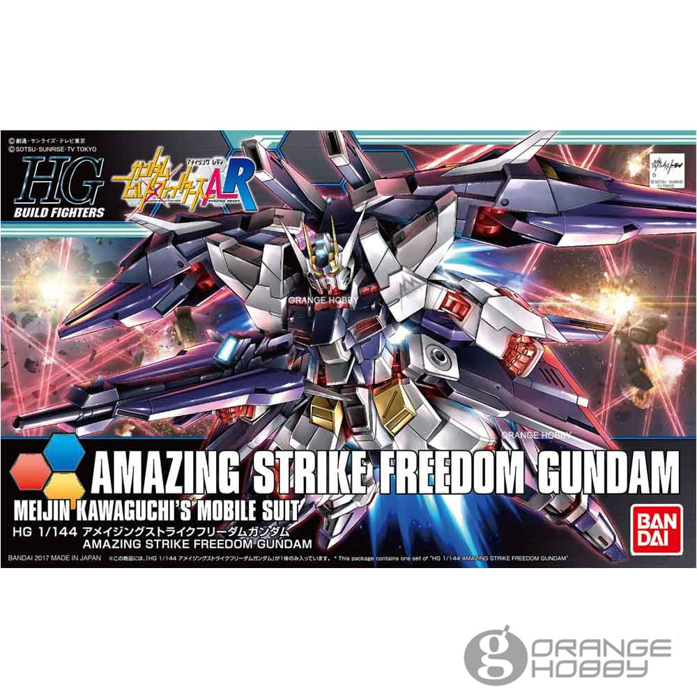 OHS Bandai HG Build Fighters 053 1/144 Amazing Strike Freedom Gundam Meijin Kawaguchis Mobile Suit Assembly Model Kits bandai bandai gundam model sd q version bb 309 sangokuden wu yong bian xiahou yuan battle