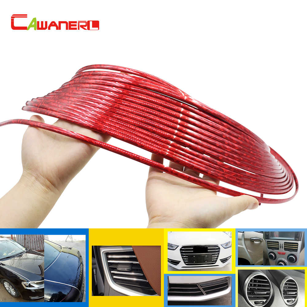 Cawanerl 200 CM Auto Exterieur Bumper Grille Deur Airconditioner Outlet Vent Rode Chrome Trim Decoratie Strip Sticker Auto Styling