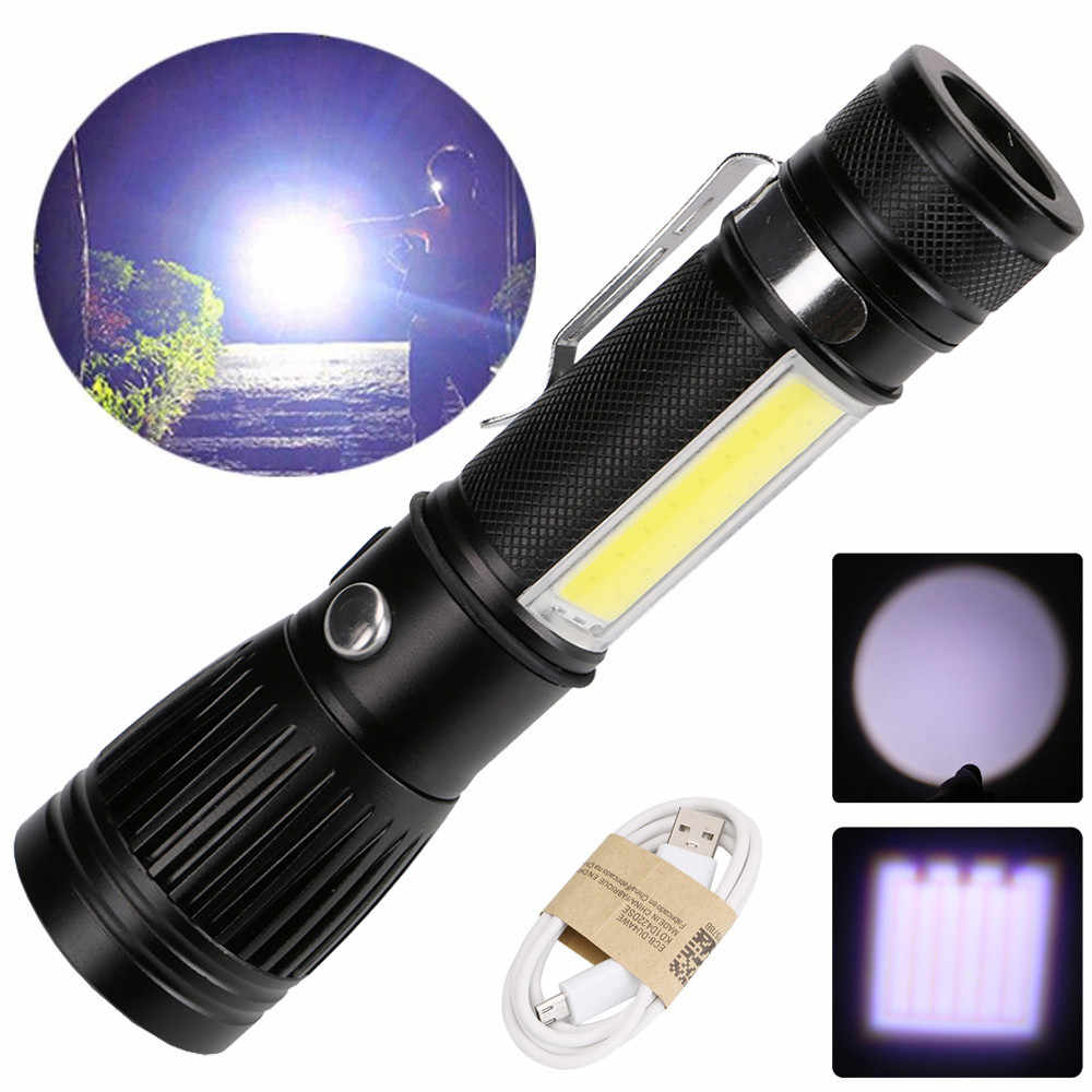 4000LM USB 18650 XML T6+COB LED Torch Lamp Penlight Chargable Zoomable Flashligt