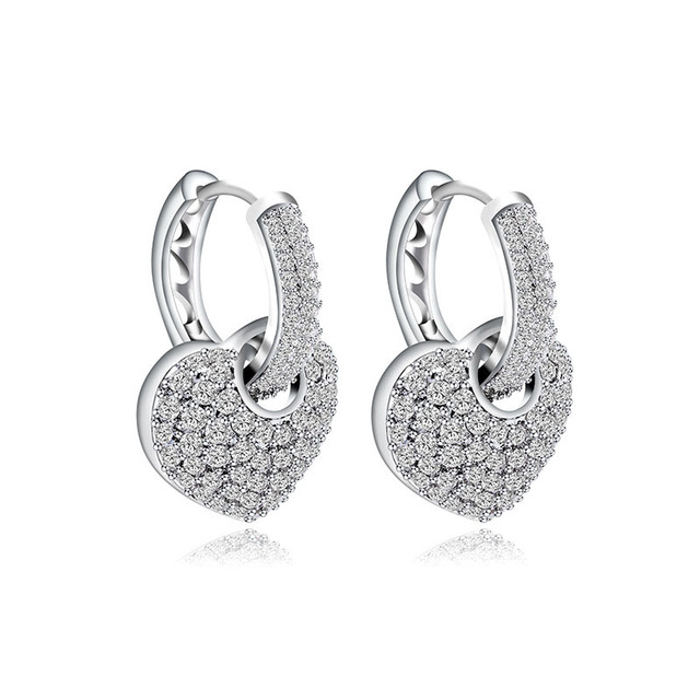 Trendy Earrings Fashion Lady Jewelry Real 925 Sterling Silver Clip On Heart Korea Style Shiny