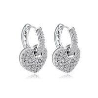 Trendy Earrings Fashion Lady Jewelry Real 925 Sterling Silver Clip on Earrings Heart Korea Style Shiny CZ Boutique Accessory