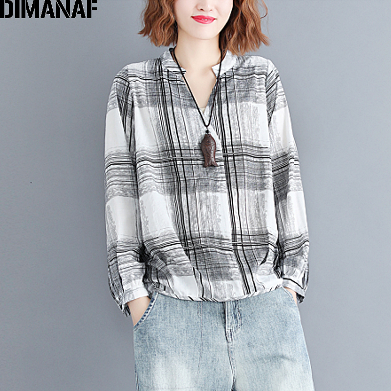 DIMANAF Women's   Blouse     Shirt   Female Clothing Plus Size Linen Vintage Lady Basic Top Tunic V-Neck Print Plaid Black 2018 Autumn