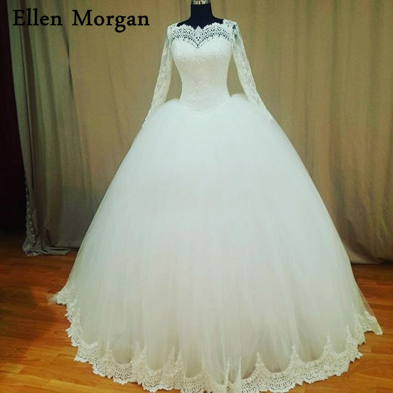 Plus Size Lace Ball Gowns Wedding Dresses 2018 Vintage Mariage Off Shoulder Zipper Court Train Long Sleeve Bridal Gowns
