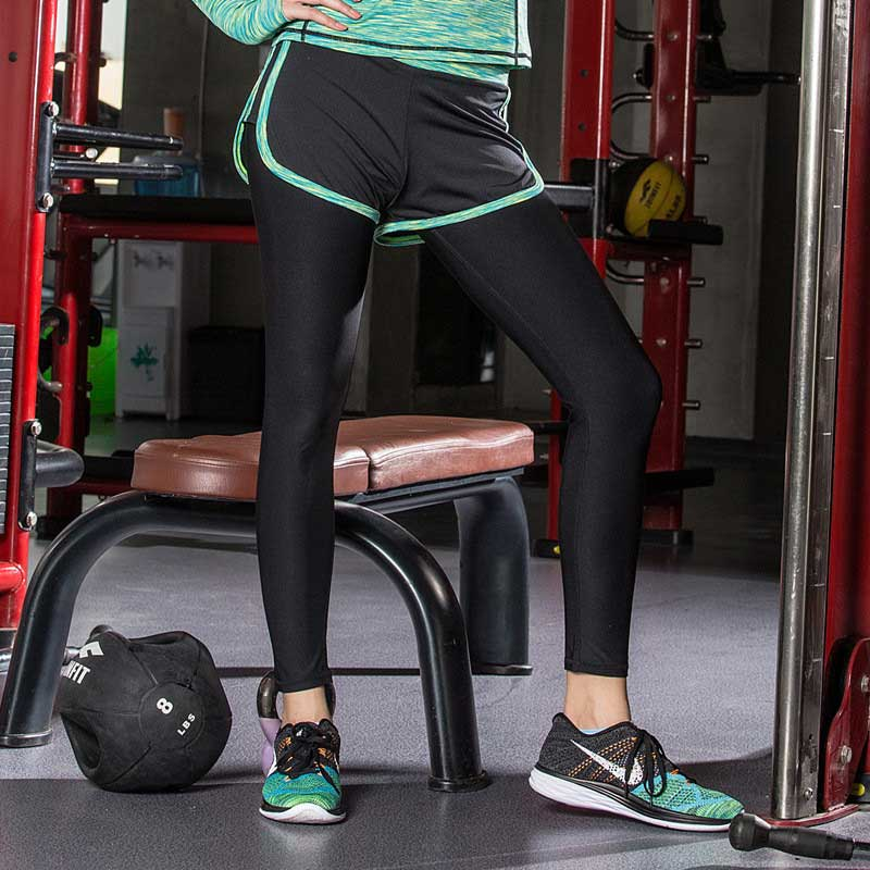 Women Gym Fitness Leggings With Shorts Skirt Yoga Exercise Black Workout Training Sport Clothes Running Clothing Sport Pant WA37