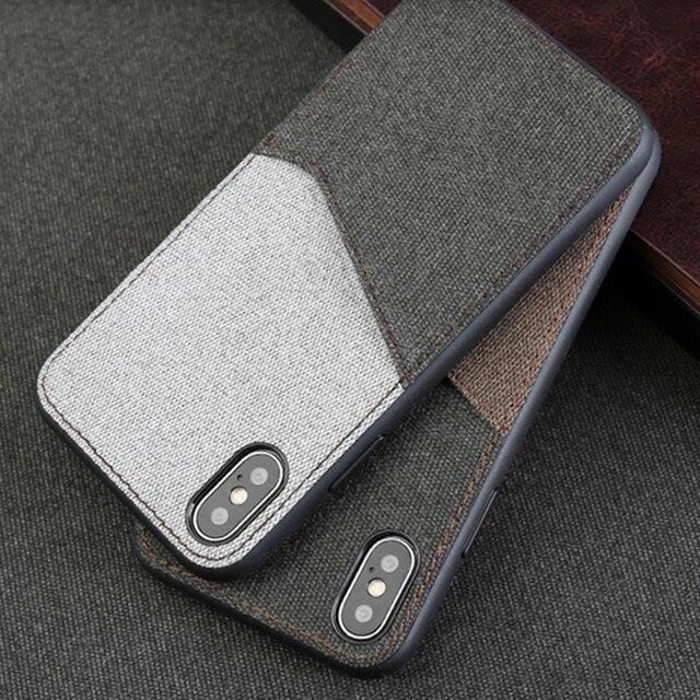 Canvas Phone Case For Xiaomi Mi 6 8 SE 8 Explorer 6X A2 Mix 2S Max 3 Soft TPU Edge Color Stitching Card Slot Design Back Cover