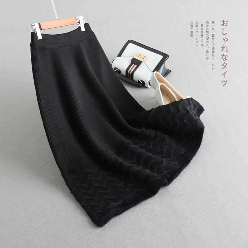 Punto gris Otoño Mujeres Falda Moda caqui Euro americano invierno Beige Innasofan Alta De negro Color Elegante Cintura Grueso qpRXwwaW5