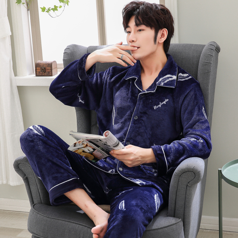 Yuzhenli Pajama-Sets Nightwear Flannel Home-Suit Warm Winter Men's Plus-Size Thick XXXL