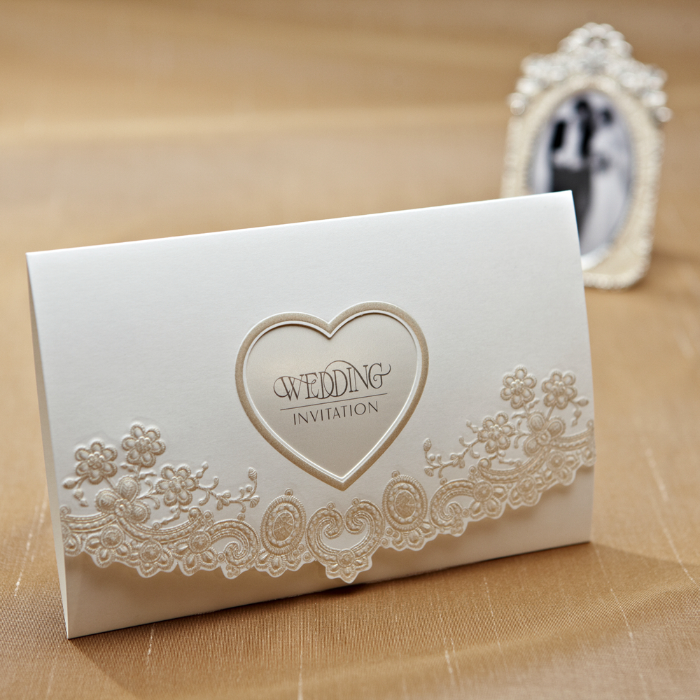Hot Western style Love Heart And Flower Wedding Invitation Card ...