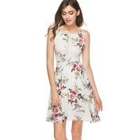Summer Dresses 2017 Vestidos Women Sleeveless Backless Floral Printed Spaghetti Strap Hollow Chiffon White Dress Beach