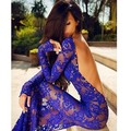 Sexy Plus Size Club Dresses See Though Bodice Backless Royal Blue Mermaid Prom Dresses Long Sleeve Lace Vestido De Festa