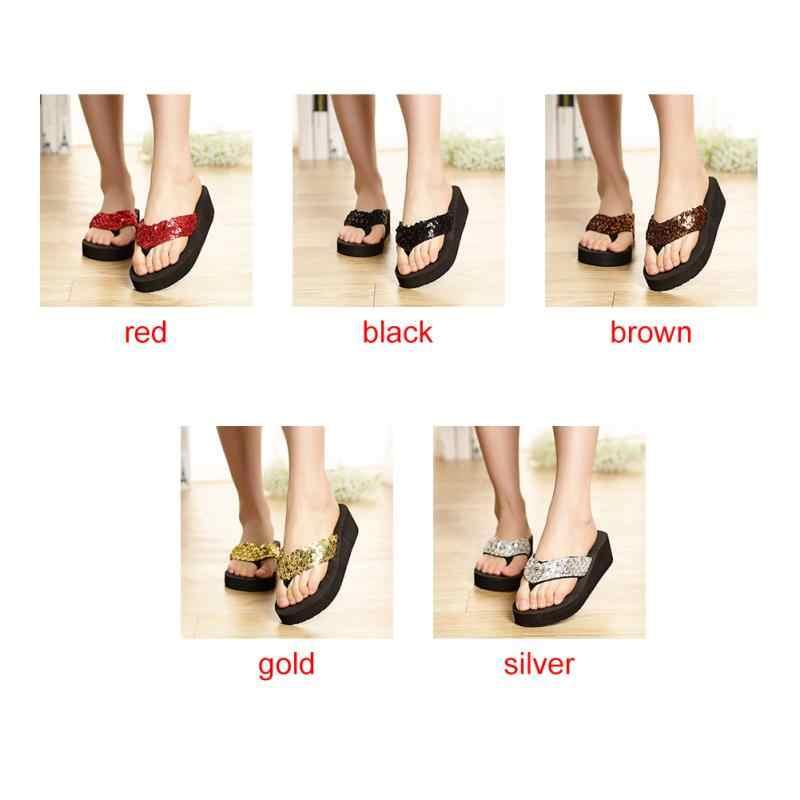 ccea0faac99 ... 2018 Fashion Summer Women Casual Shoes Non-Slip Bling Sequins Beach  Slippers Flip Flops Platform