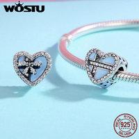 WOSTU Authentic 100% 925 Sterling Silver Faith Cross & Sweet Bowknot Heart Shape Beads fit Women Charm Bracelet jewelry FIC357