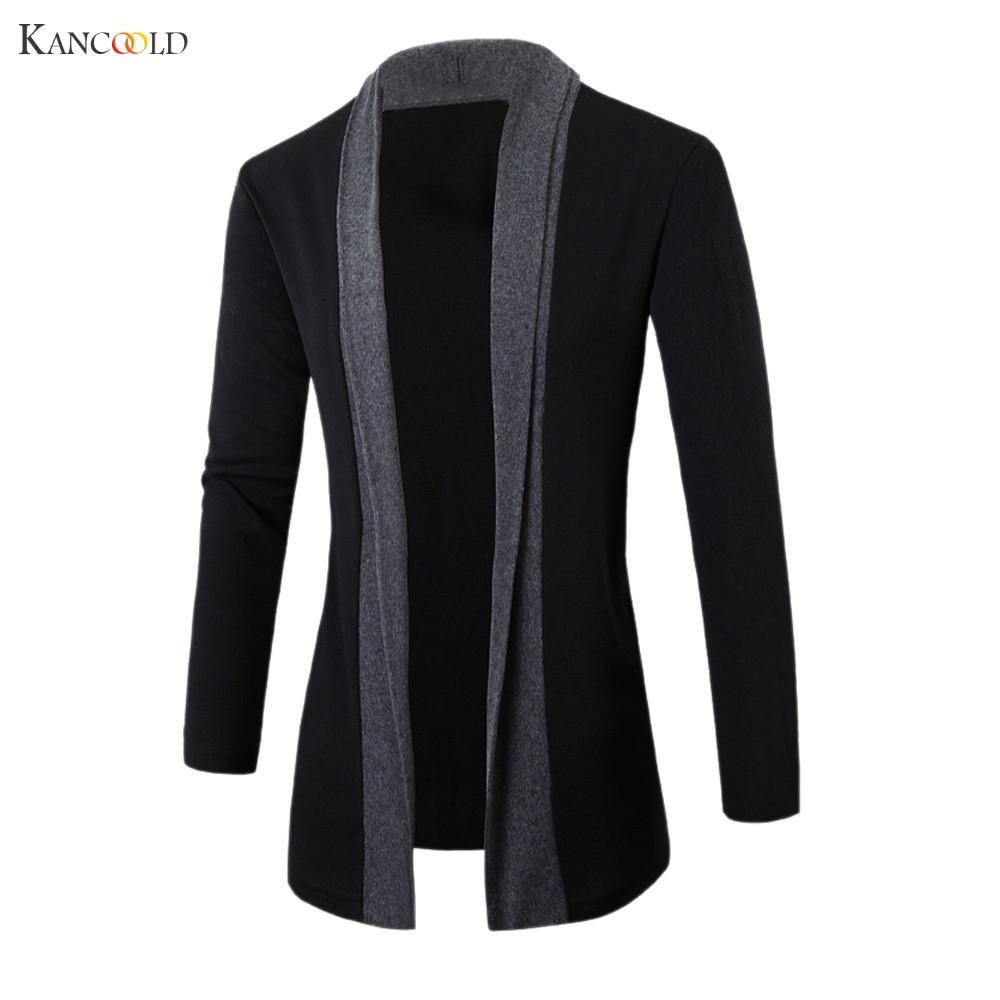 Jacket Cardigan Outwear Sweater Trench-Coat Winter Mens Clothing Long-Sleeve Male Fashion
