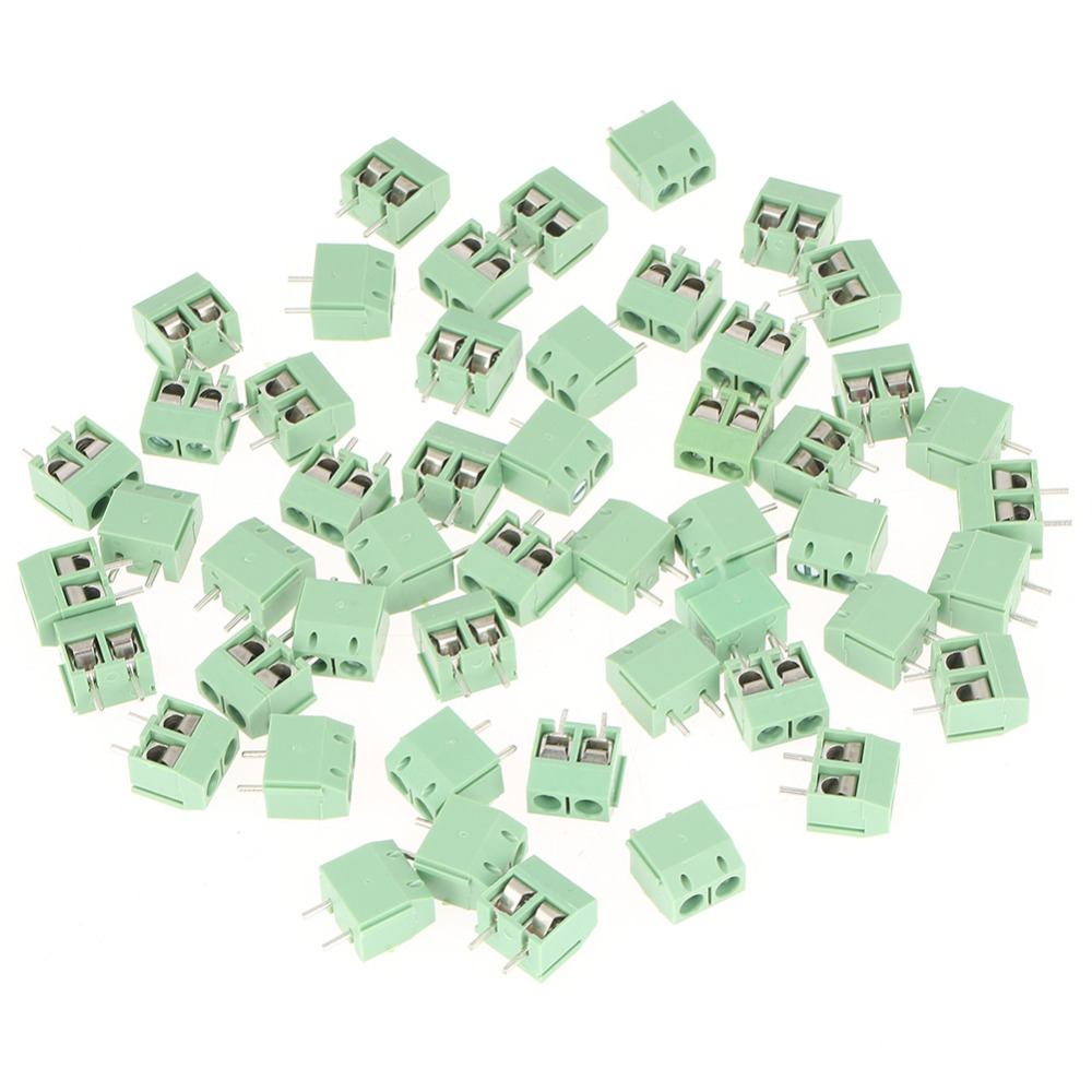 Wholesale 50pcs/set 2 Pin 5mm Pitch Green PCB Universal Screw Terminal Block Connector 2PinTerminal Block Connector