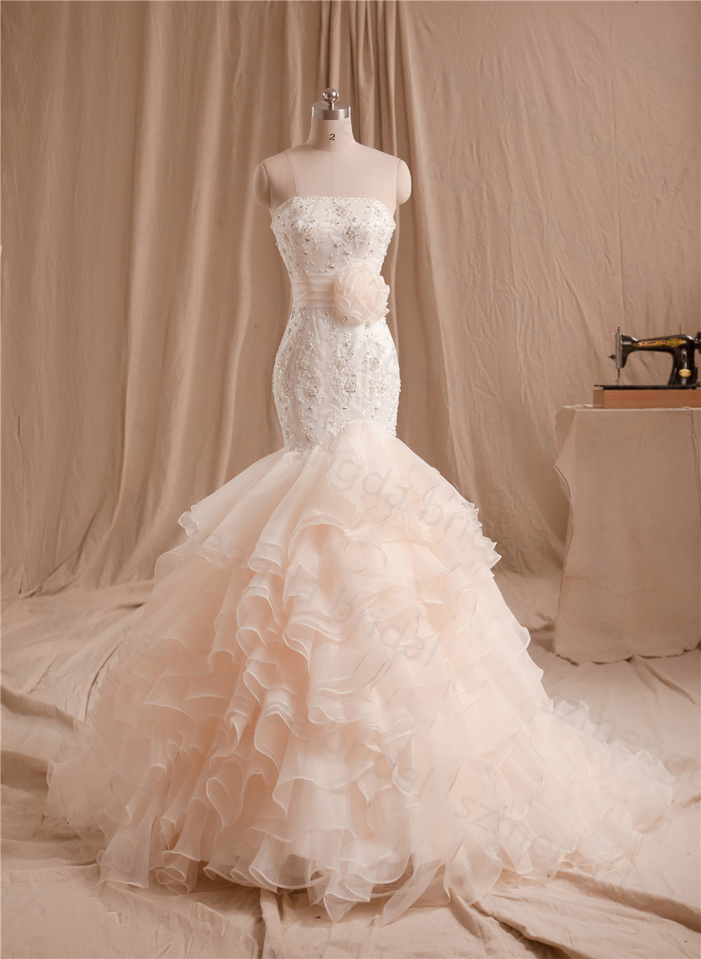 Buy women strapless tiered ruffle skirt for Wedding dress appliques suppliers
