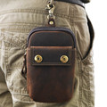 Fashion Crazy horse Leather waist bag For Mobile Phone Bag Men's Travel Fanny Pack Belt Loops Hip Bum Bag Wallet