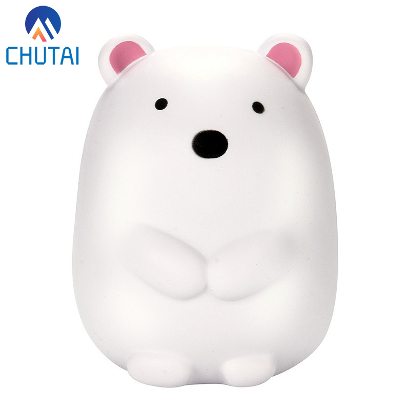 2018 New Simulation Cartoon Animal Big White Bear Squishy Stress Relief Vent Slow Rising Bread Bun Cake Squeeze Toys 12*12CM