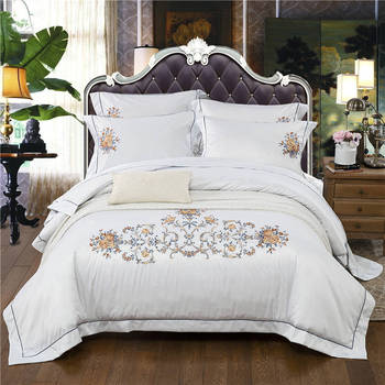 IvaRose New 4/6-Pieces 100%Cotton Embroidery Bed Set Luxury Bedding Sets King Size Queen Bed Set Duvet Cover Bed Sheet