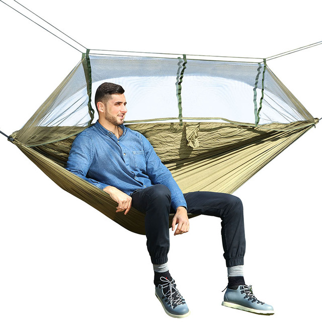 Outdoor Camping Parachute Hammock Mosquito Net Flyknit Double Leisure Sleeping Hanging Chair Tent Travel Survival Army Green  1