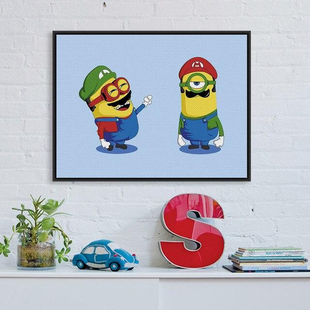 Lustige Minions Super Mario Pop Film Cartoon Spiel A4 Kunstdruck
