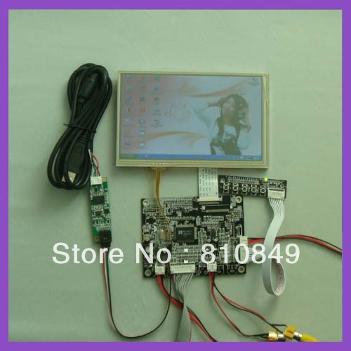 VGA+2AV+Revering Driver board+7inch AT070TN83 with touch panel+USB touch control vga 2av revering driver board 8inch 800 600 lcd panel ej080na 05b touch panel
