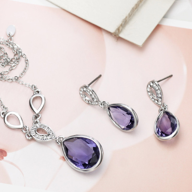 RhinestoneWater Drop Style Elegant Jewelry Set
