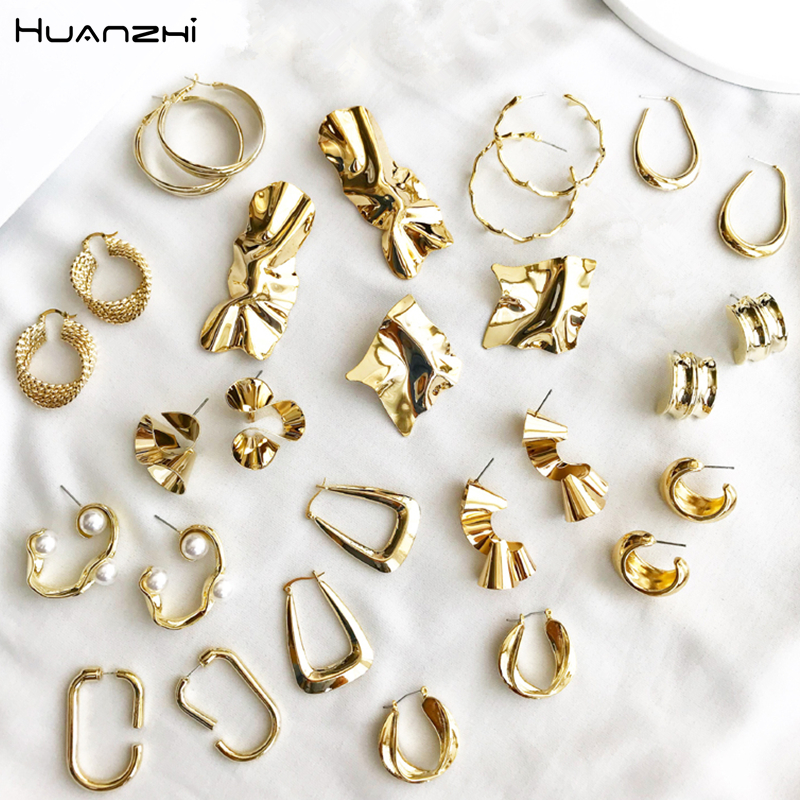 HUANZHI 2019 New Design Gold Metal Plated Irregular Geometric  Fold Twisted Round Circle Waterdrop Earrings For Women Girl Party
