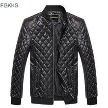 FGKKS แบรนด์ผู้ชายสบายๆแจ็คเก็ตหนังฤดูหนาว 2019 แฟชั่นชายรถจักรยานยนต์ PU เสื้อหนังผู้ชายหนังเสื้อแจ็คเก็ตผู้ชาย