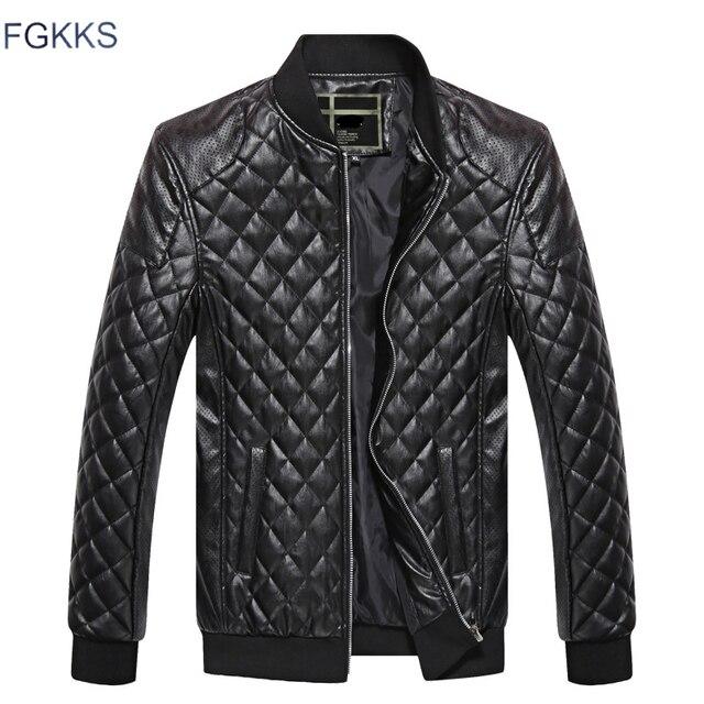 FGKKS عارضة العلامة التجارية الرجال سترات من الجلد 2019 الشتاء الذكور الأزياء دراجة نارية سترة بولي يوريثان الذكور الجلود والجلود معاطف السترة الرجال
