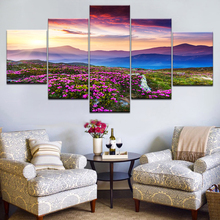 Wall Art Picture Home Decor Canvas Print 5 Panel Painting Sunset Mountain Flower Field Landscape Modern Poster Modular Frame