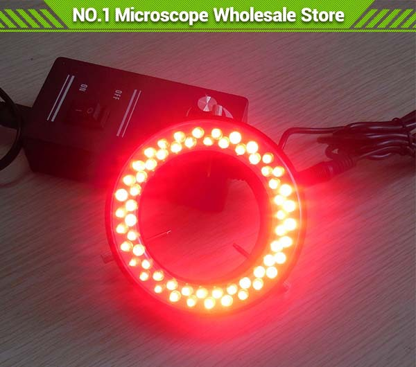 2 PCS Red 60 pcs LED Light Ring Led Lights Ring Lamp with Adapter 110V-240V for Stereo Biological Zoom Stereo Microscope blue light 60 led lamps stereo biological zoom microscope led circular ring microscopy lighting with adapter 220v or 110v
