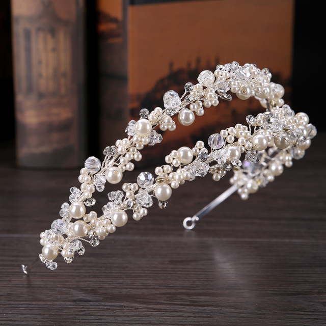 TUANMING White Pearl Crystal Bridal Hairbands Tiaras Wedding Crown Headband For Bride Hair Jewelry Wedding Accessories Hair Wear