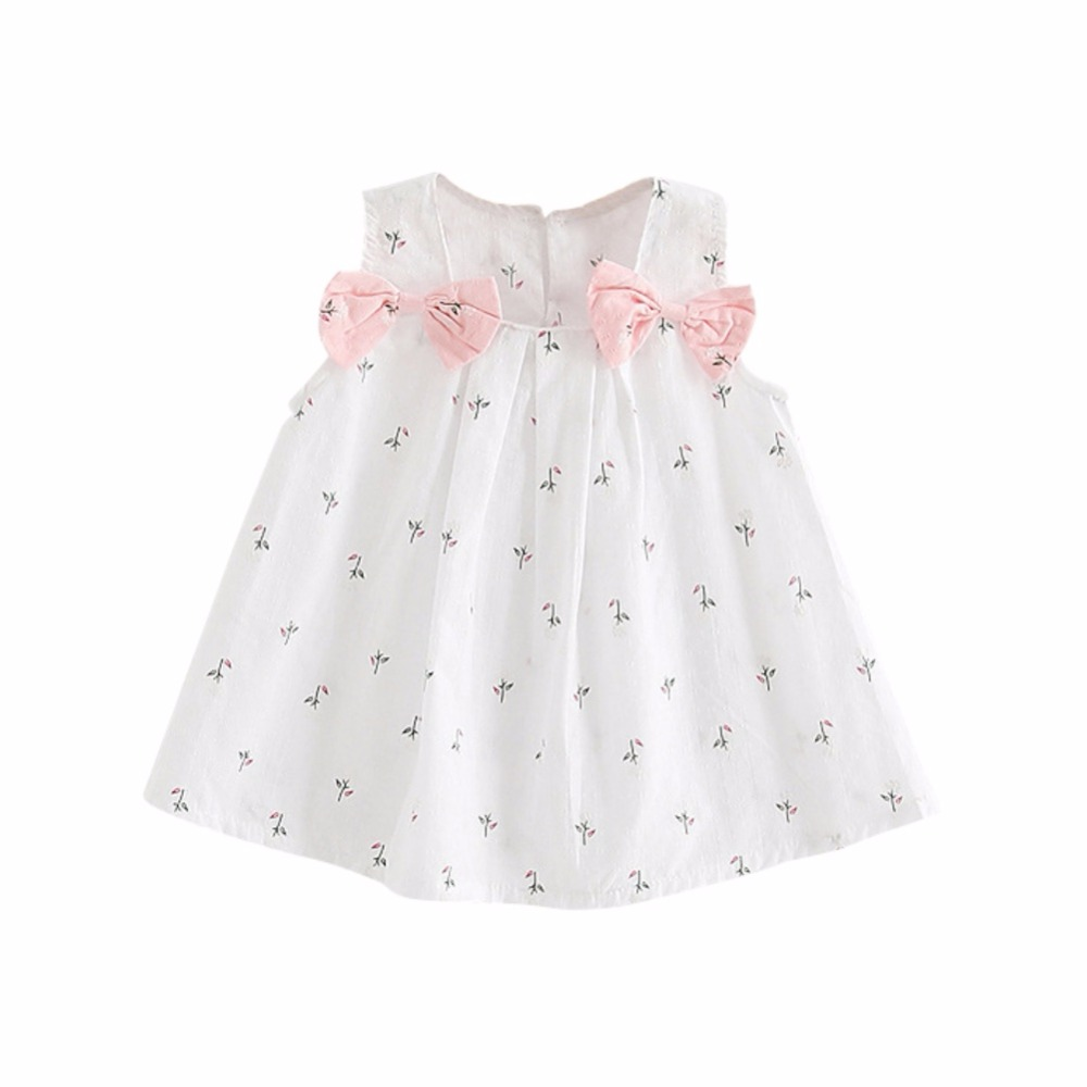Summer Kids Clothes Baby Girls Dresses Cute Suspenders Print Bow Vest Children Pink White Clothing Vestidos 0-2T