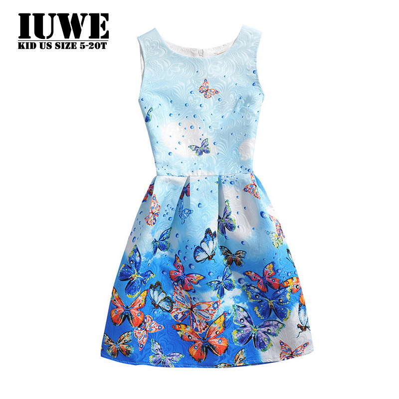 Summer Girls Dress  2017 Dresses for Girls of 12 Years Teenagers Sleeveless Blue Butterfly Printed  Knee-Length Girls Clothing summer dress 2016 dresses for girls of 12 years sleeveless printed big size princess dress teenagers kids clothes