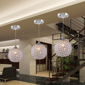 Modern K9 Crystal Small Pendant Light Lampshade Decoration Home Luminaire Dinning Room Lamp