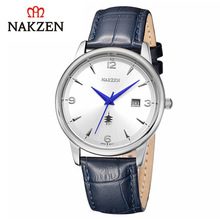 Nakzen 高級クォーツメンズ腕時計スチールベルト革防水時計メンズカジュアルスポーツクール腕時計ギフトレロジオ Masculino