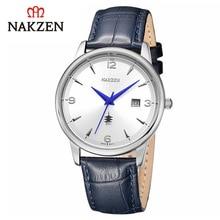 Nakzen luxo relógio de quartzo masculino cinto de aço couro relógio à prova dwaterproof água casual esportes masculinos legal relógio presente relogio masculino
