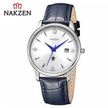 Reloj de cuarzo Nakzen de lujo para hombre, correa de acero, reloj de cuero resistente al agua, reloj deportivo informal para hombre, reloj de regalo, reloj Masculino