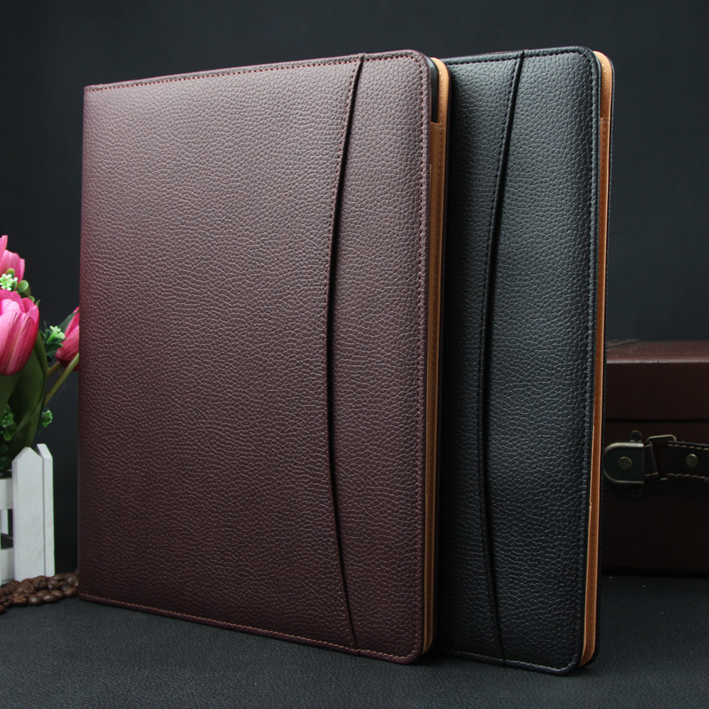 Job executive woman man PU leather folder zipper padfolio