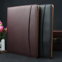 Job Executive Woman Man PU Leather Folder Zipper Padfolio Business Organizer IPAD Mobile Documents Holder Ring