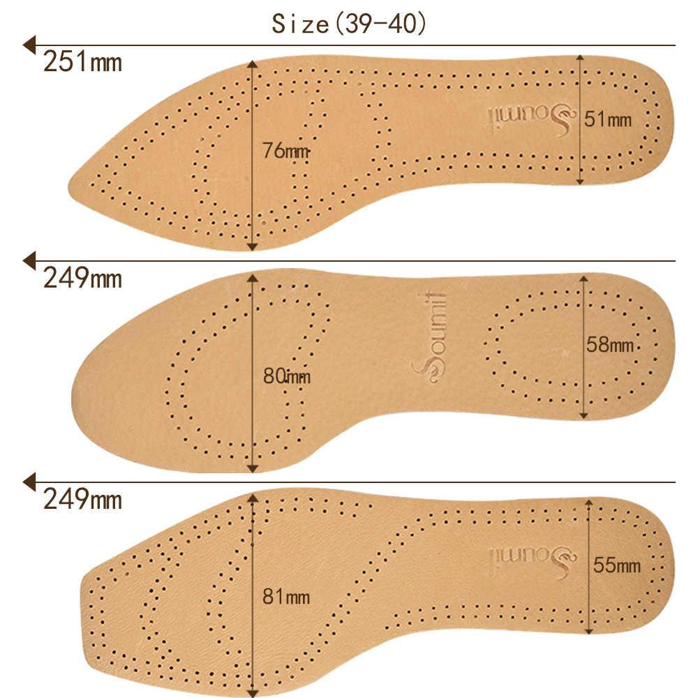 Soumit Ultra Ince Pigskin Deri Tabanlık Erkekler Kadınlar için Ayakkabı Ter emici Lateks Nefes Ekler Düz kafa Ucu Yuvarlak kafa
